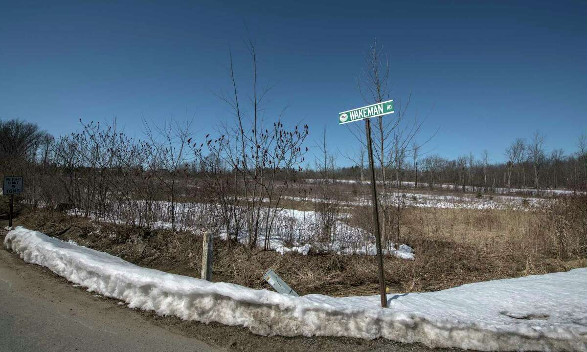 Parcel of land on the corner of Wakeman and State Route 50 in Monday March 19, 2018 Ballston Spa, N.Y. that the Spinney Group plans to develop. (Skip Dickstein/Times Union)