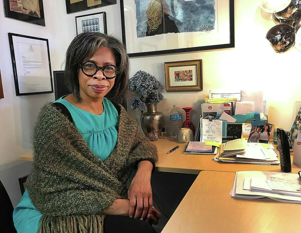 Lisa Scails, executive director of the Cultural Alliance of Western Connecticut, sits in her office on Main Street in Danbury, Conn., on Thursday, March 15, 2018.