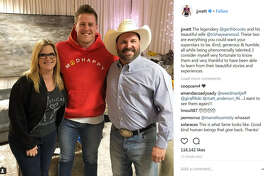 Houston Texas star J.J. Watt hung out with county music legend Garth Brooks and his wife Trisha Yearwood this weekend at the rodeo.