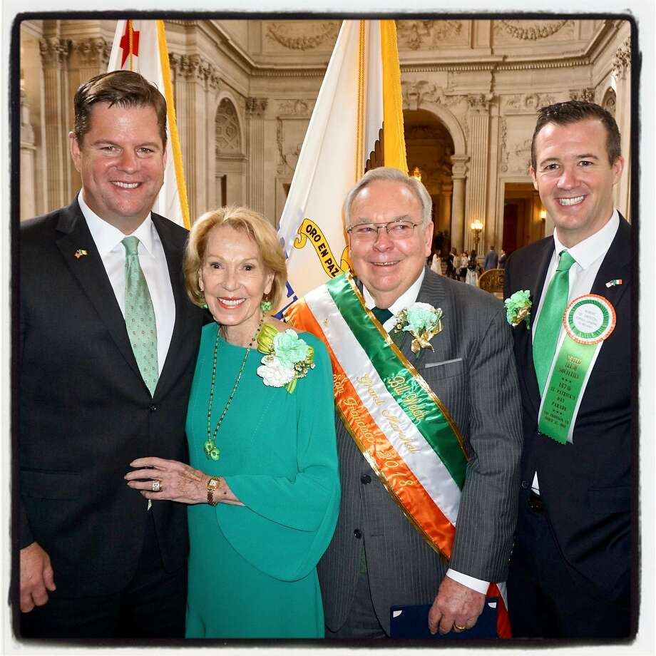 Acting Mayor Mark Farrell (left), Protocol Chief Charlotte Shultz, parade Grand Marshal Bill Welch and Irish Consul General Robert O'Driscoll March 9, 2018. Photo: Catherine Bigelow, Special To The Chronicle