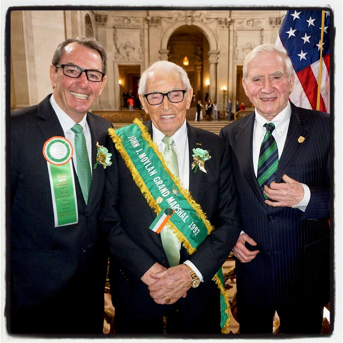 United Irish Societies President Liam Frost (left) with John Moylan and SF-Cork Sister City cofounder Diarmuid Philpott. March 9, 2018.