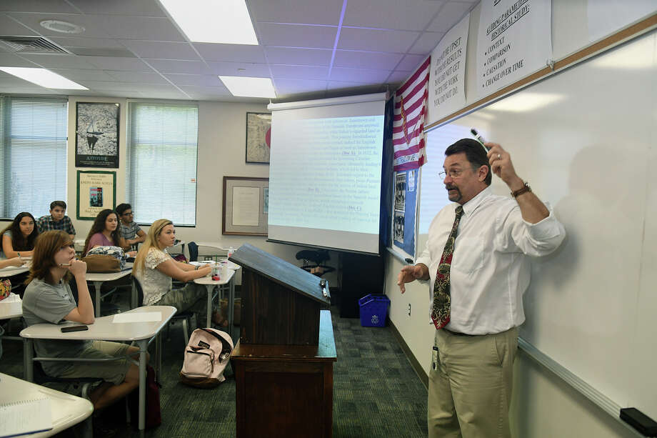 Kingwood High School AP Dual Credit History teacher Mark Scalia, right, presents his lecture during the first day back on the KHS campus for the 2017-2018 schoool year on Monday, March 19, 2018. (Photo by Jerry Baker/Freelance) Photo: Jerry Baker, For The Chronicle / Freelance