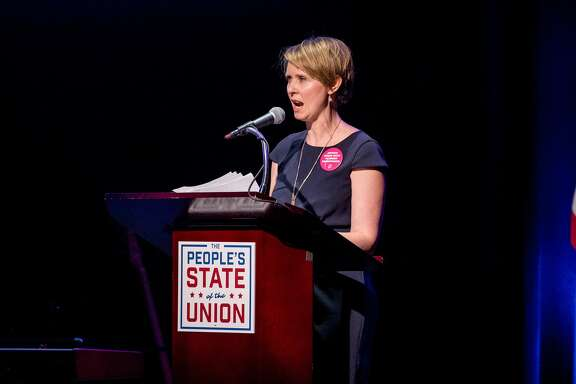 FILE — Cynthia Nixon speaks onstage during The People's State Of The Union at Town Hall on January 29, 2018 in New York City.