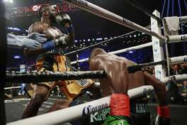 Deontay Wilder celebrates after knocking down Luis Ortiz during the sixth round of a WBC heavyweight.