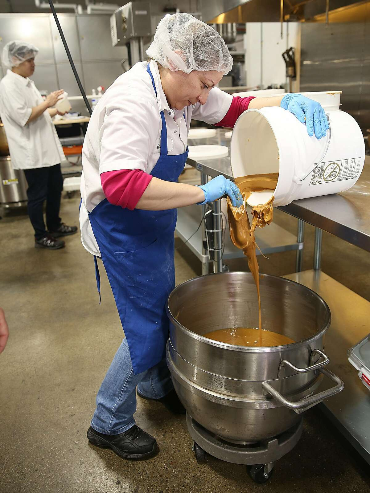 Peanut-butter filling being made at Ocho candy factory.