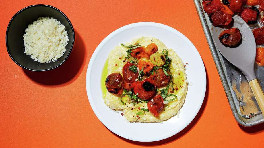 Polenta with Basil and Roasted Cherry Tomatoes Photo: Stacy Zarin Goldberg / For The Washington Post