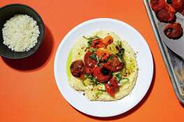 Polenta with Basil and Roasted Cherry Tomatoes