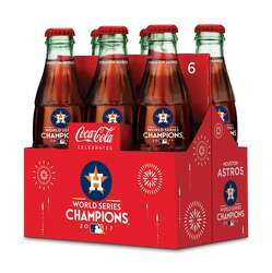 ONE GLASS COCA COLA BOTTLE 1 2017 WORLD SERIES CHAMPIONS HOUSTON ASTROS 8 OZ