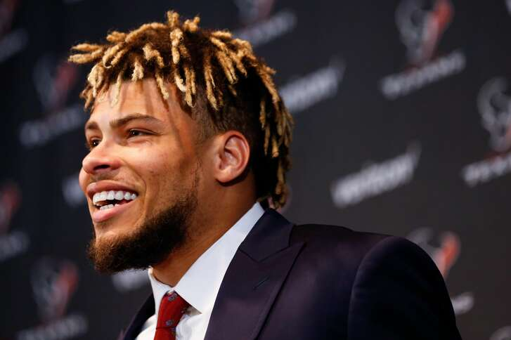 New Houston Texans safety Tyrann Mathieu smiles as he is introduced during a news conference at NRG Stadium on Monday, March 19, 2018, in Houston. ( Brett Coomer / Houston Chronicle )