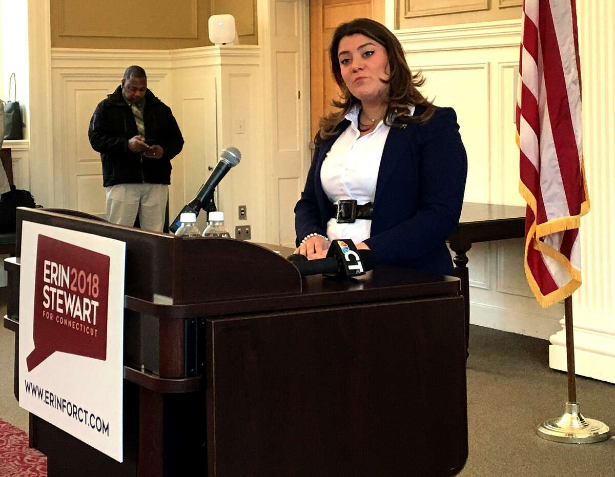 New Britain Mayor Erin Stewart announced her run for governor of Connecticut at Central Connecticut State University in New Britain, Conn. on Monday, March 19, 2018.