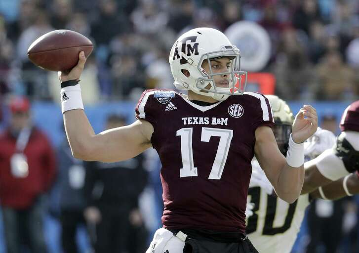 Texas A&M's Nick Starkel (17) looks to pass against Wake Forest during the first half of the Belk Bowl NCAA college football game in Charlotte, N.C., Friday, Dec. 29, 2017. (AP Photo/Chuck Burton)