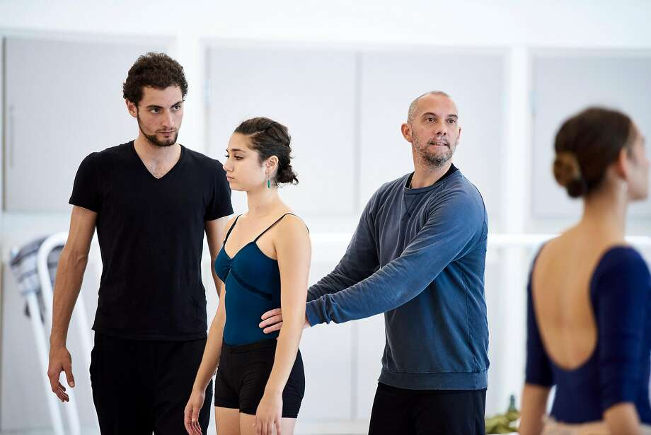 "David Dawson (right) rehearses his ""Anima Animus"" with Carlo Di Lanno and Skyla Schreter. Photo: Erik Tomasson"