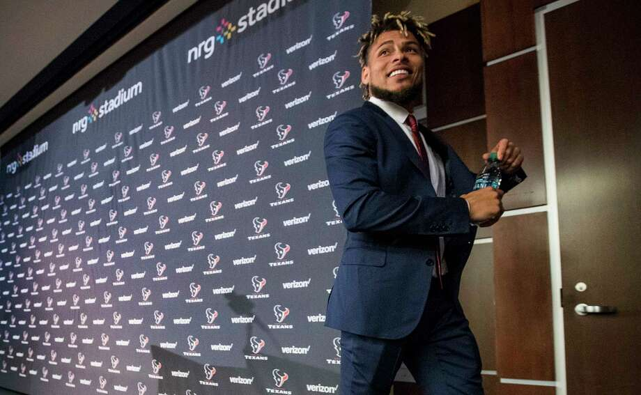 New Houston Texans safety Tyrann Mathieu walks away from the podium following his introductory news conference at NRG Stadium on Monday, March 19, 2018, in Houston. Mathieu, 25, who comes to the Texans as a free agent from the Arizona Cardinals, started 57-of-66 regular season games played over five seasons with the Cardinals. He was drafted in the third round (69th overall) of the 2013 NFL Draft out of LSU. Photo: Brett Coomer, Houston Chronicle / © 2018 Houston Chronicle