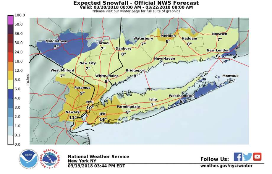 "Late Monday afternoon, the NWS issued a winter storm watch for southern Connecticut. ""Heavy wet snow possible. Total wet snow accumulations of 5 to 9 inches, with locally higher amounts possible,"" it said in a 3:52 p.m. advisory. It's expected to be upgraded to a warning on Tuesday. Photo: National Weather Service"