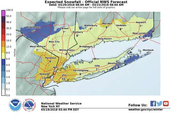 "Late Monday afternoon, the NWS issued a winter storm watch for southern Connecticut. ""Heavy wet snow possible. Total wet snow accumulations of 5 to 9 inches, with locally higher amounts possible,"" it said in a 3:52 p.m. advisory. It's expected to be upgraded to a warning on Tuesday."