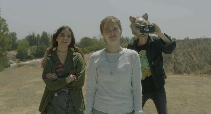 """Maya Eshet, Zoey Deutch and Dylan Gelula in """"Flower."""" (The Orchard)"""