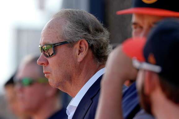 Houston Astros owner Jim Crane watches drills as full squad workouts began during spring training day at The Ballpark of the Palm Beaches, Monday, Feb. 19, 2018, in West Palm Beach    ( Karen Warren / Houston Chronicle )