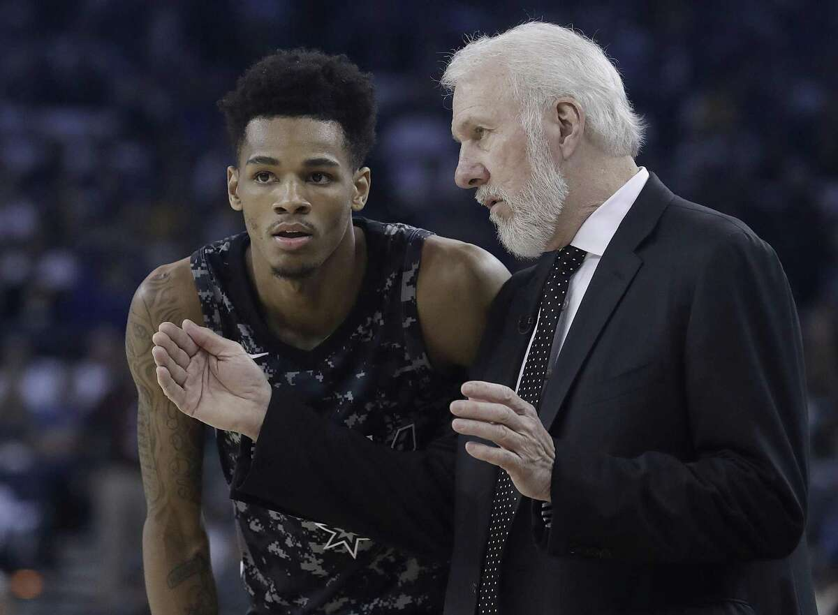 San Antonio Spurs Coach Gregg Popovich gives instructions to Dejounte Murray during the first half of a game against Golden State on March 8. A reader says the coach is to blame for recent woes the team has experienced.