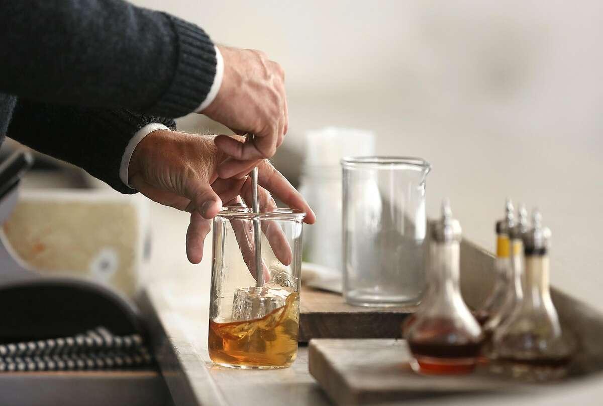 Owner Thad Vogler of Bar Agricole, Trou Normand and Obispo, makes a Hallelujah Cocktail.