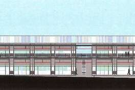 An architectural rendering of J.R. Payden Field House to be built at the athletic fields at Derby High School, in Derby, Conn. March 19, 2018.