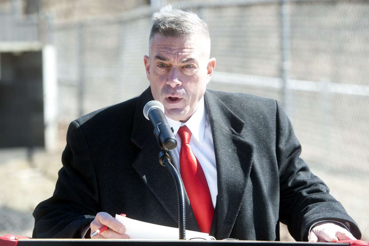Superintendent of Schools Dr. Matthew Conway speaks at the groundbreaking ceremony for the new J.R. Payden Field House and baseball field at Derby High School, in Derby, Conn. March 19, 2018.