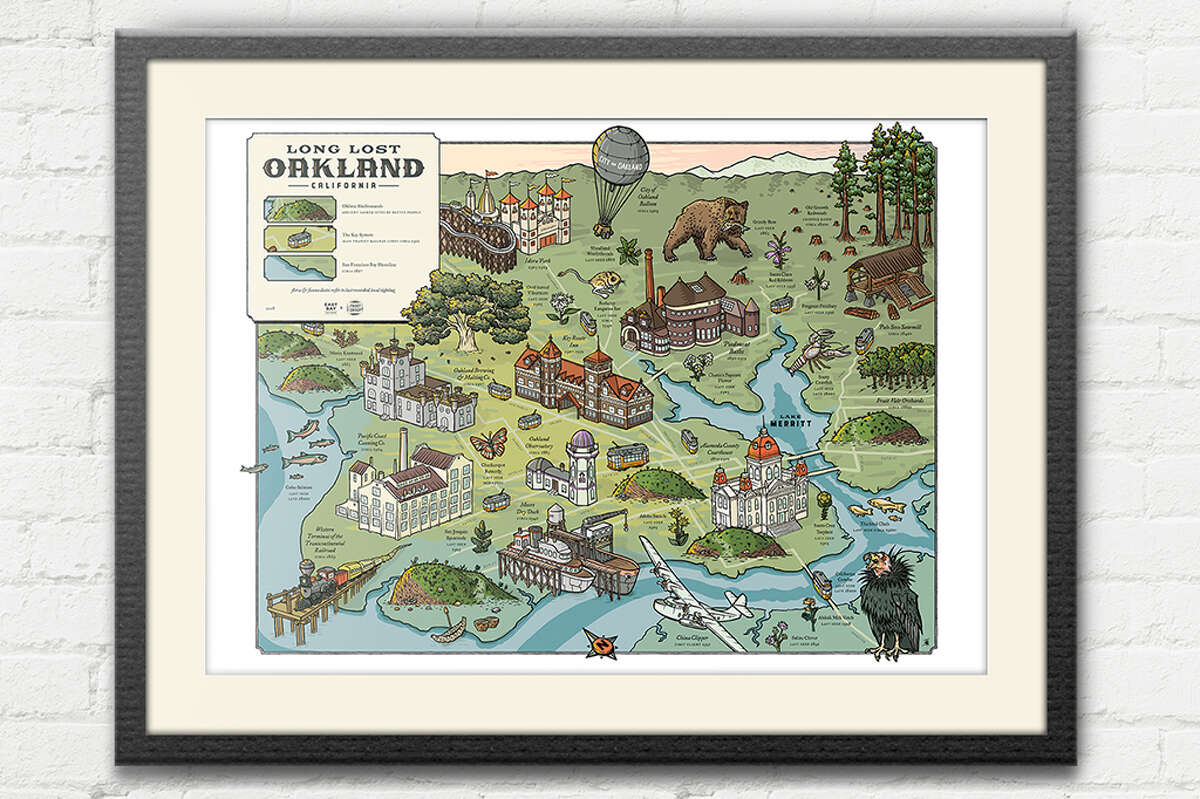 """""""Long Lost Oakland,"""" a collaboration between East Bay Yesterday and Front Group Design, chronicles geographic features, plants and animals that were once found in Oakland. A full-color map is the centerpiece of a project consisting of a walking tour, speaking events and a podcast mini-series."""