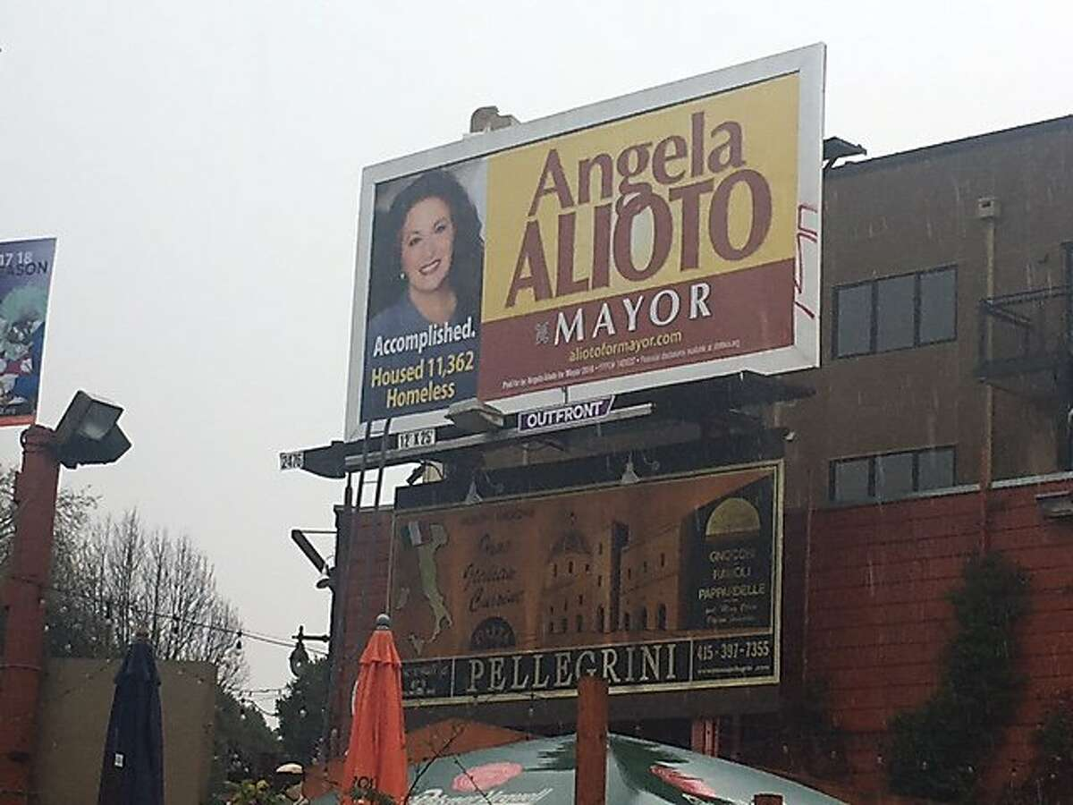 A campaign billboard for mayoral candidate Angela Alioto in North Beach.