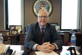 Danbury Mayor Mark Boughton returned to work at City Hall on Monday, March 19, 2018, after suffering a medical episode late last week at an event for Republican candidates for governor.