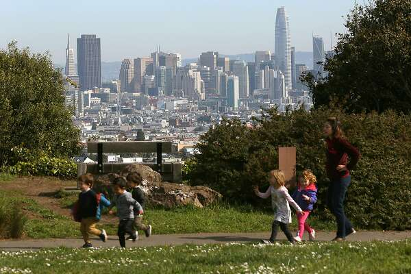 Downtown seen during a sunny day at Walter Haas Park on Monday, March 19, 2018, in San Francisco, Calif.