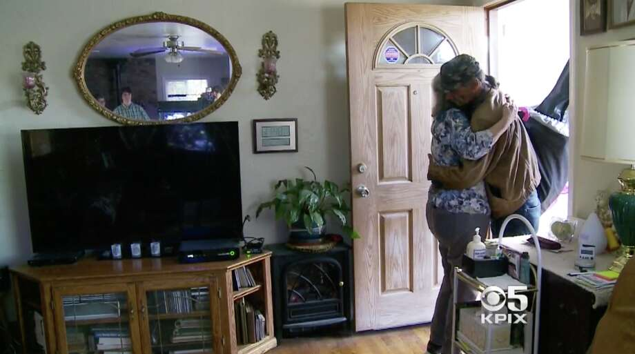 """KPIX captured the moment that Mick Myers met his birth mother, Marie Pauline """"Polly"""" Oakley. Photo: KPIX"""