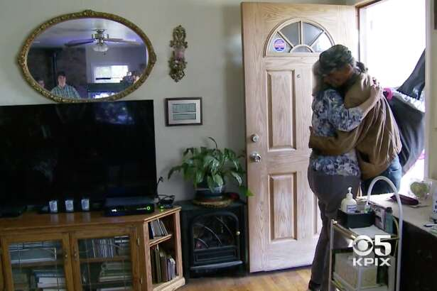 """KPIX captured the moment that Mick Myers met his birth mother, Marie Pauline """"Polly"""" Oakley."""