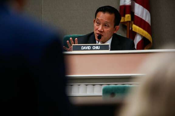 Assembly member David Chiu (center) speaks during a hearing to decide whether or not to repeal the Costa Hawkins Rental Housing Act at the State Capital in Sacramento, Calif., on Thursday, Jan. 11, 2018.  The Costa Hawkins Rental Housing Act did not pass.