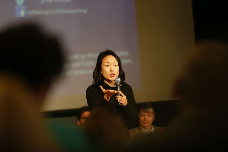 San Francisco Supervisor and mayoral candidate Jane Kim speaks during a housing town hall at the Kelly Cullen Community in San Francisco, Calif. on Saturday, March 17, 2018.