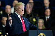 U.S. President Donald Trump delivers a speech on his administration's plans to combat the opioid crisis at Manchester Community College in Manchester, NH on March 19, 2018.