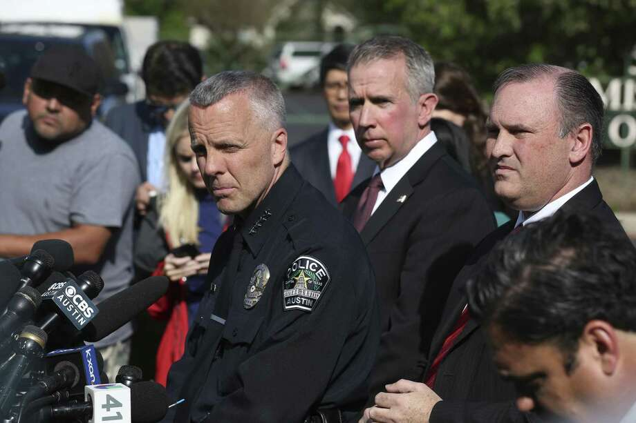 From left, Austin Police Interim Chief Brian Manley, ATF Agent in Charge Fred Milanowski and FBI Agent in Charge Christopher Combs hold a press conference near the scene of an explosion on the southwest side of Austin. Photo: JERRY LARA / JERRY LARA / San Antonio Express-News / © 2018 San Antonio Express-News