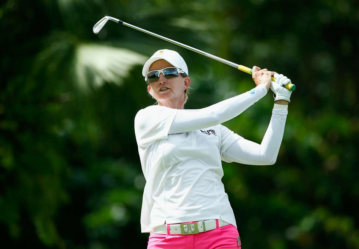 SINGAPORE - MARCH 05: Karrie Webb of Australia hits her tee shot on the second hole during the third round of the HSBC Women's Champions at Sentosa Golf Club on March 5, 2016 in Singapore. (Photo by Scott Halleran/Getty Images)