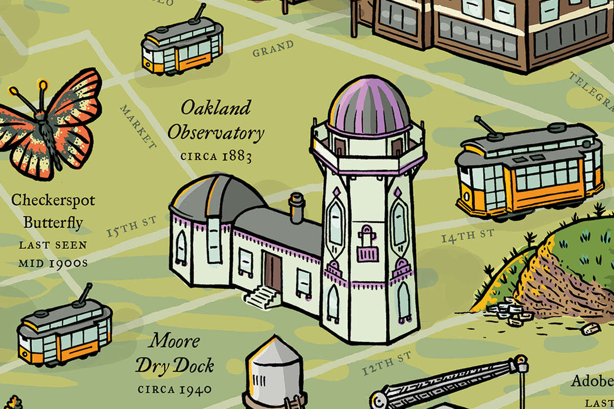 """""""Long Lost Oakland,"""" a collaboration between East Bay Yesterday and Front Group Design, chronicles geographic features, plants and animals that were once found in Oakland. A full-color map is the centerpiece of a project consisting of a walking tour, speaking events and a podcast mini-series. Pictured above: Oakland Observatory, circa 1883"""