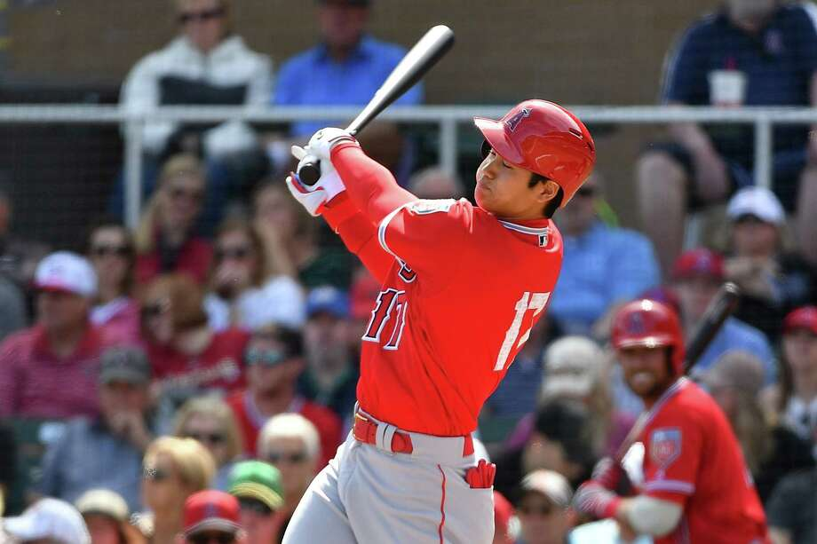 SCOTTSDALE, AZ - MARCH 06:  Shohei Ohtani #17 of the Los Angeles Angels swings at a pitch in the second inning of the spring training game against the Arizona Diamondbacks at Salt River Fields at Talking Stick on March 6, 2018 in Scottsdale, Arizona.  (Photo by Jennifer Stewart/Getty Images) Photo: Jennifer Stewart / 2018 Getty Images