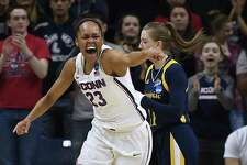 UConn's Azurá Stevens (23) reacts after a basket against Quinnipiac Monday in Storrs.