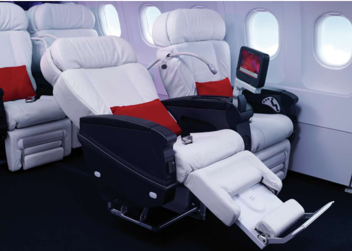 First class seats on Alaska Airlines flight to Honolulu using Virgin America A321s.