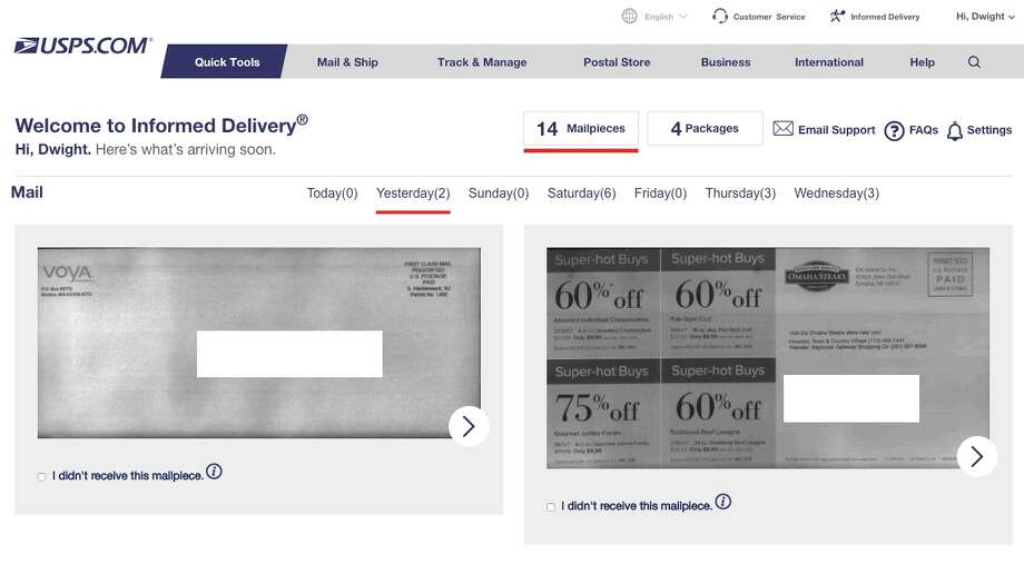 The US Postal Service will take photos of your snail mail and email it to you. Yes, even the junk mail. Photo: Chronicle Screenshot