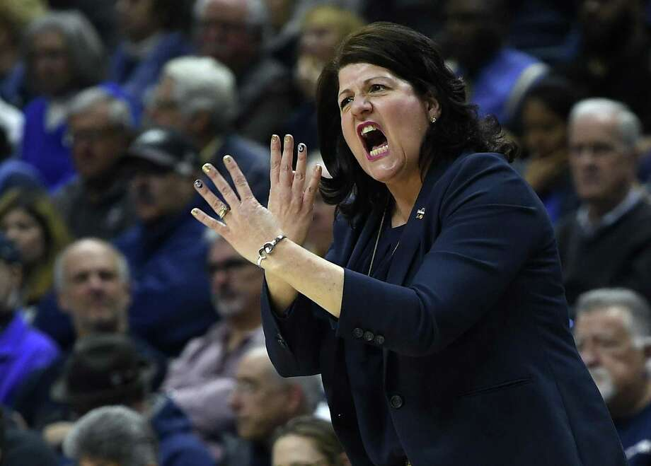 Quinnipiaccoach Tricia Fabbri gestures during the first half a second-round game against UConn on Monday in Storrs. Photo: Jessica Hill / Associated Press / AP2018