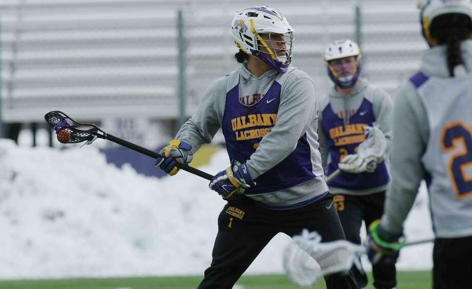UAlbany men's lacrosse attackman, Tehoka Nanticoke, takes part in practice on Thursday, March 15, 2018, in Albany, N.Y.  (Paul Buckowski/Times Union) Photo: PAUL BUCKOWSKI / (Paul Buckowski/Times Union)