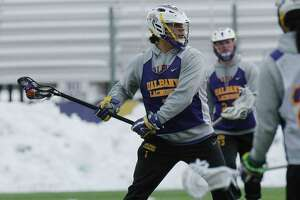 UAlbany men's lacrosse attackman, Tehoka Nanticoke, takes part in practice on Thursday, March 15, 2018, in Albany, N.Y.  (Paul Buckowski/Times Union)