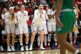 The Stanford bench reacts to their team's play against Florida Gulf Coast during the second quarter of an NCAA Division I Women's Basketball Championship game, on Monday, March 19, 2018 in Stanford, Calif.