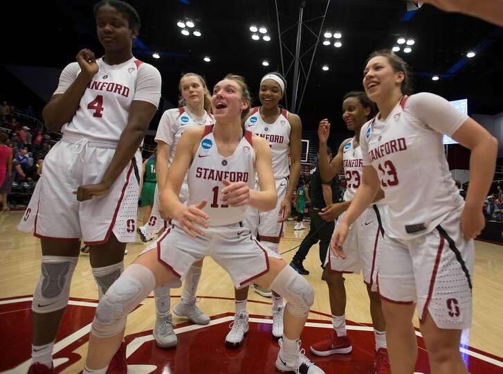 Stanford players celebrate their victory over Florida Gulf Coast in an NCAA Division I Women's Basketball Championship game, on Monday, March 19, 2018 in Stanford, Calif. Stanford won 90-70, and advance to the Sweet 16.