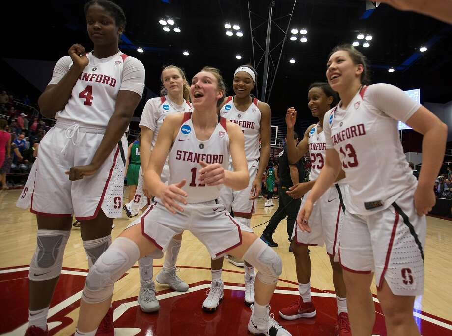 Stanford players celebrate their victory over Florida Gulf Coast in an NCAA Division I Women's Basketball Championship game, on Monday, March 19, 2018 in Stanford, Calif. Stanford won 90-70, and advance to the Sweet 16. Photo: D. Ross Cameron, Special To The Chronicle