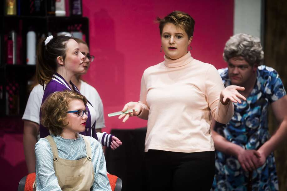"From left, Bronwyn Crawford, as Joleen Kester, Kayla Giardina, as Alice Culver, Faith Jacobs, as Cassie Nolan, and Levi Gledhill , act out a scene during a dress rehearsal for Bullock Creek High School's production of ""A New Style for Murder""€ on Monday, March 19, 2018 at Bullock Creek High School. (Katy Kildee/kkildee@mdn.net) Photo: (Katy Kildee/kkildee@mdn.net)"