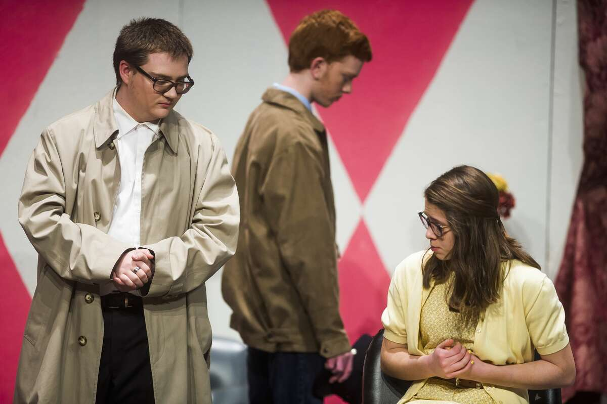 From left, Max Stukel, as Inspector Trigg, Brenden Bass, as Sheriff Peterson, and Sophia Hahn, as Dee Nolan, act out a scene during a dress rehearsal for Bullock Creek High School's production of