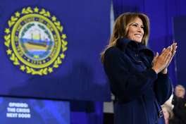 First lady Melania Trump speaks at Manchester Community College in Manchester, N.H., Monday, March 19, 2018. President Trump is in New Hampshire to unveil more of his plan to combat the nation's opioid crisis.
